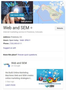 google my business web and sem profile