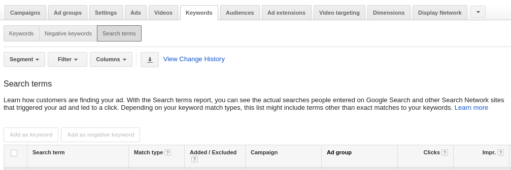 Search Terms Report – AdWords